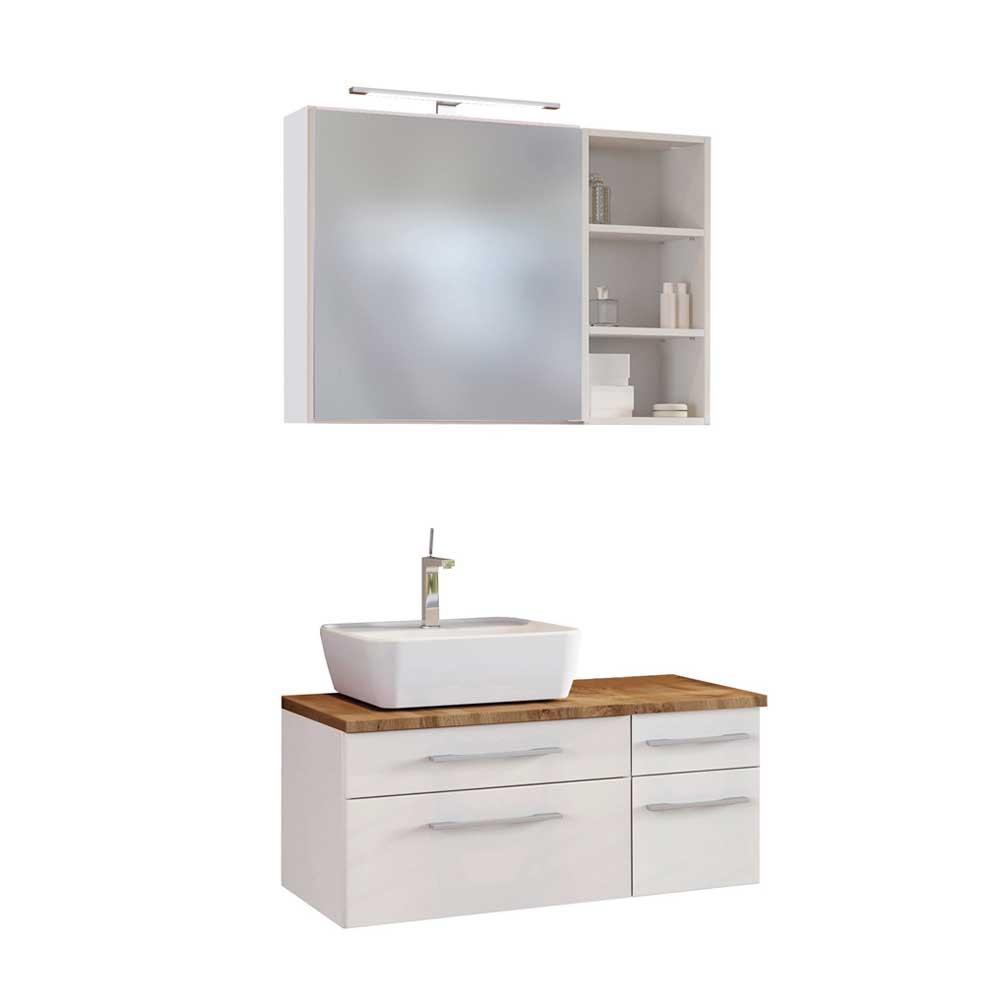 Design Badmöbel Set in Weiß und Wildeiche Dekor LED Beleuchtung (dreiteilig)