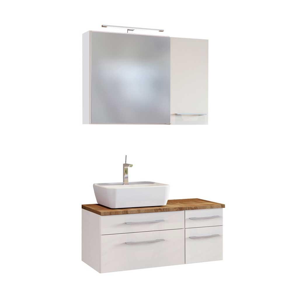 Badmöbel Set in Weiß und Wildeiche Dekor LED Beleuchtung (dreiteilig)