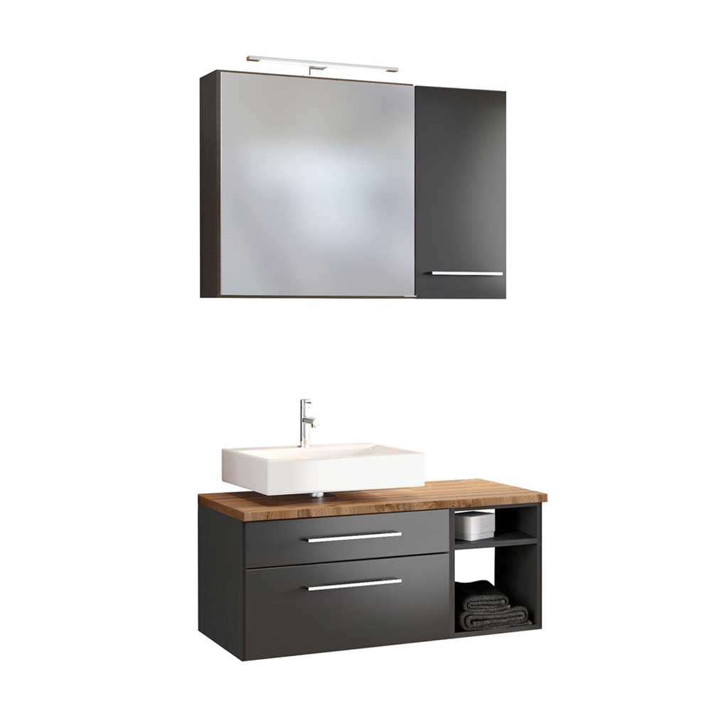 Design Badmöbel in dunkel Grau und Wildeiche Dekor modern (dreiteilig)