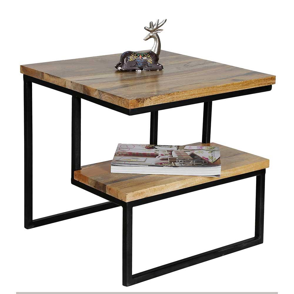 Design Sofatisch aus Mangobaum Massivholz Metall in Schwarz