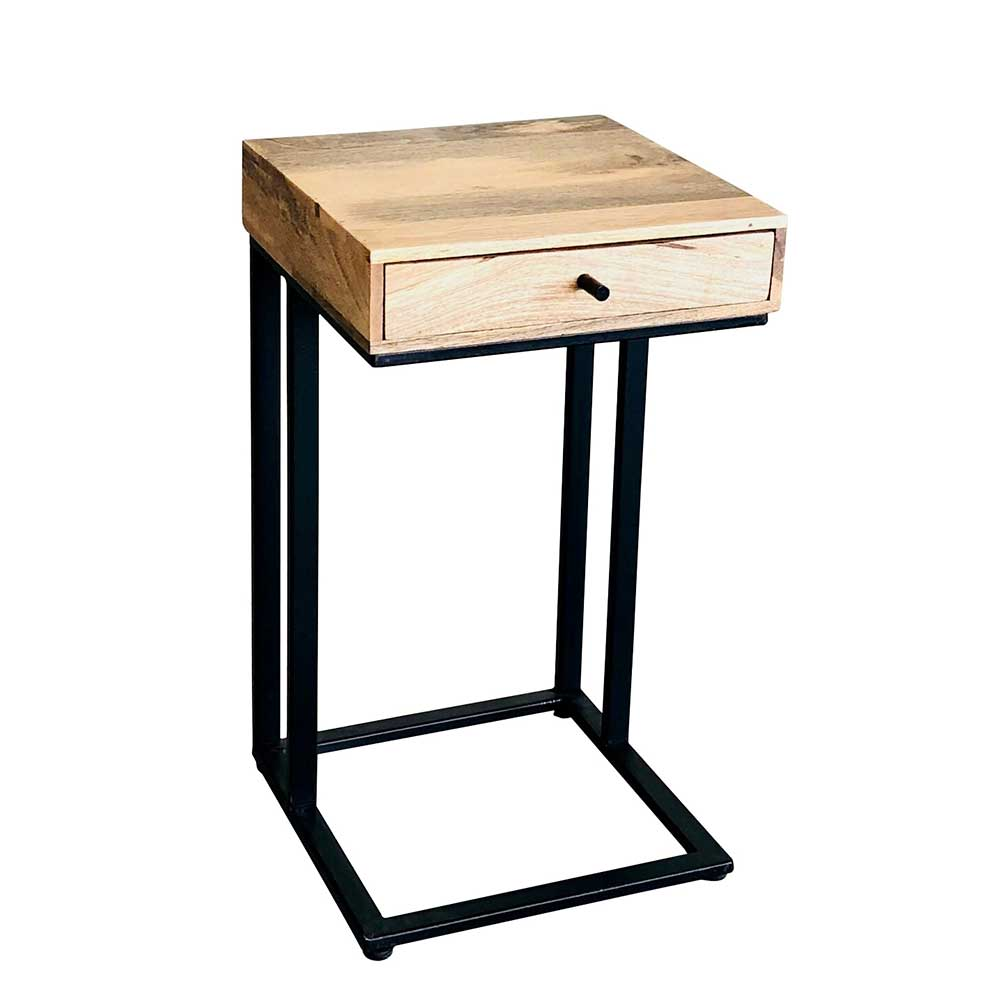 Telefontischchen aus Mangobaum Massivholz und Metall Schublade | Flur & Diele > Telefontische | Braun | Massivholz - Massiv - Lackiert - Holz - Metall | Natura Classico