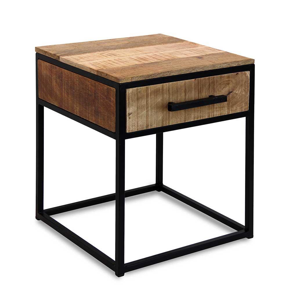 Nachtkonsole aus Mangobaum Massivholz und Eisen Loft Style | Schlafzimmer > Nachttische | Braun | Massivholz - Eisen - Holz - Lackiert - Massiv | Natura Classico