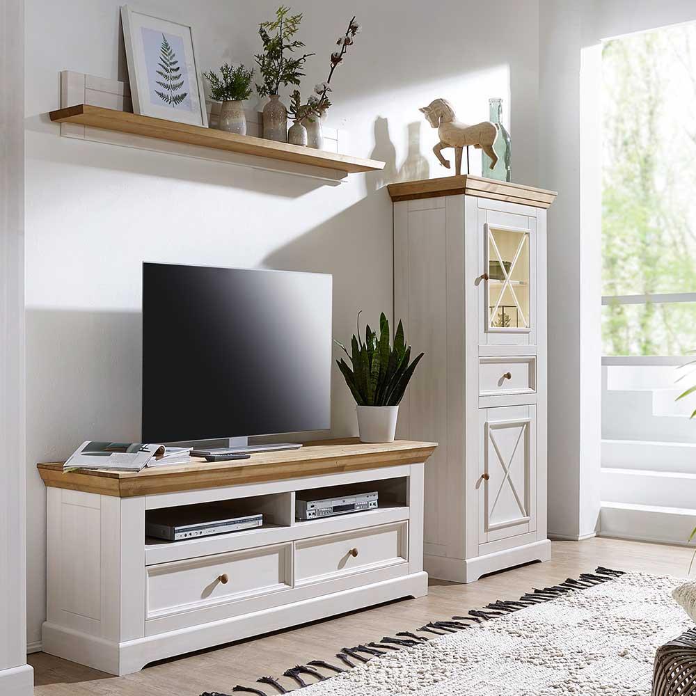 TV Wohnwand in Weiß und Eichefarben Kiefer Massivholz (dreiteilig)