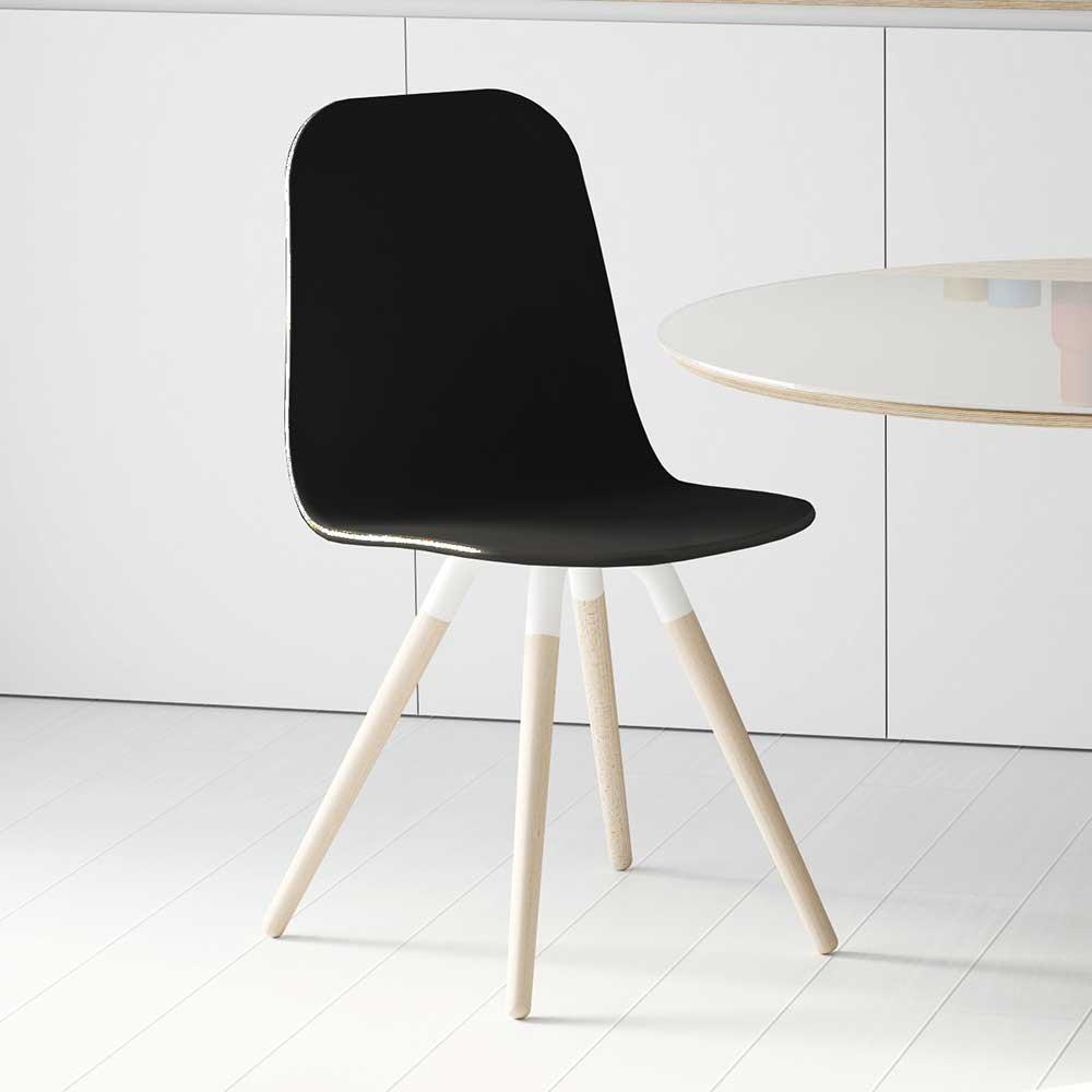 Stuhl in Schwarz Massivholzgestell in Buche gebleicht | Küche und Esszimmer > Stühle und Hocker > Holzstühle | Schwarz | Holzwerkstoff | Life Meubles