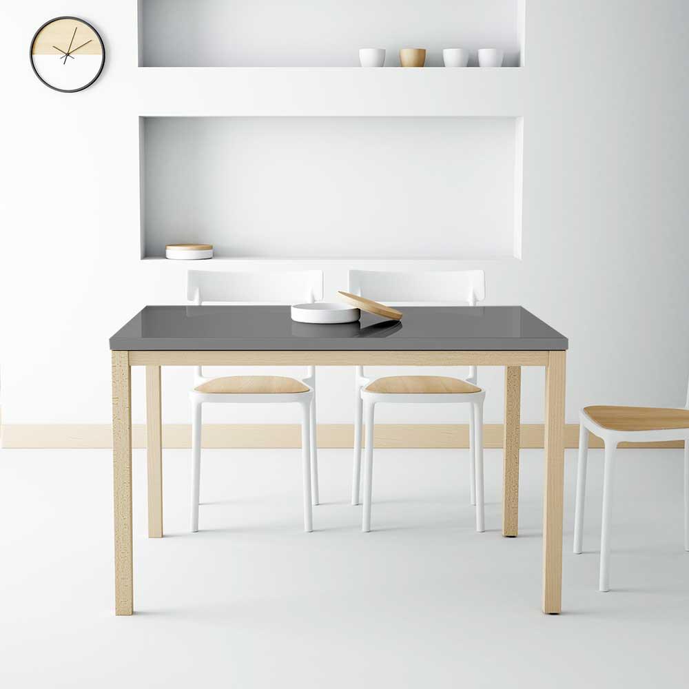 Ausziehbarer Glasstisch in Anthrazit Hochglanz Massivholzbeinen Buche gebleicht | Wohnzimmer > Tische > Glastische | Life Meubles