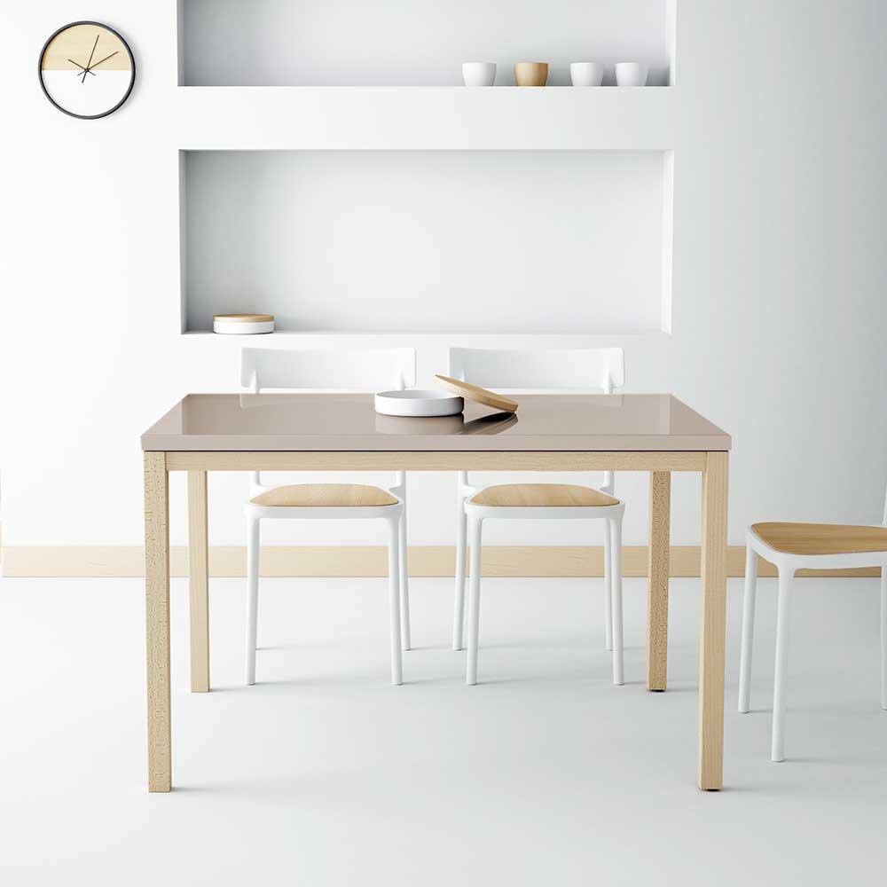 Küchentisch in Taupe Hochglanz Glas ausziehbar | Küche und Esszimmer > Esstische und Küchentische > Küchentische | Grau | Massivholz | Life Meubles
