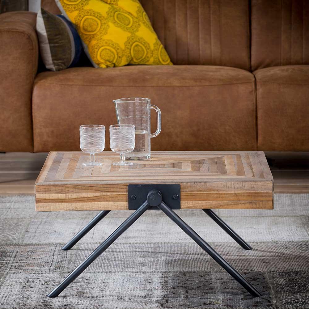 Sofa Beitisch aus Teak Massivholz und Stahl Antik Finish günstig online kaufen
