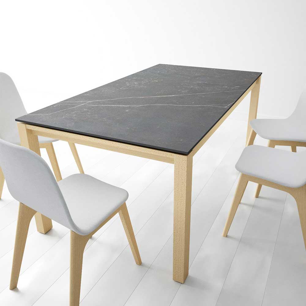 Esstisch mit Keramikplatte in Anthrazit 4-Fußgestell aus Buche Massivholz