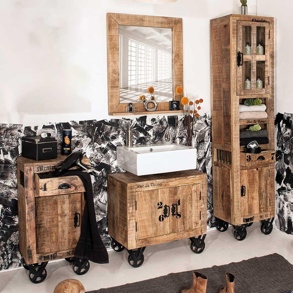 Design Badmöbel Set im Factory Style Mangobaum Massivholz (vierteilig)