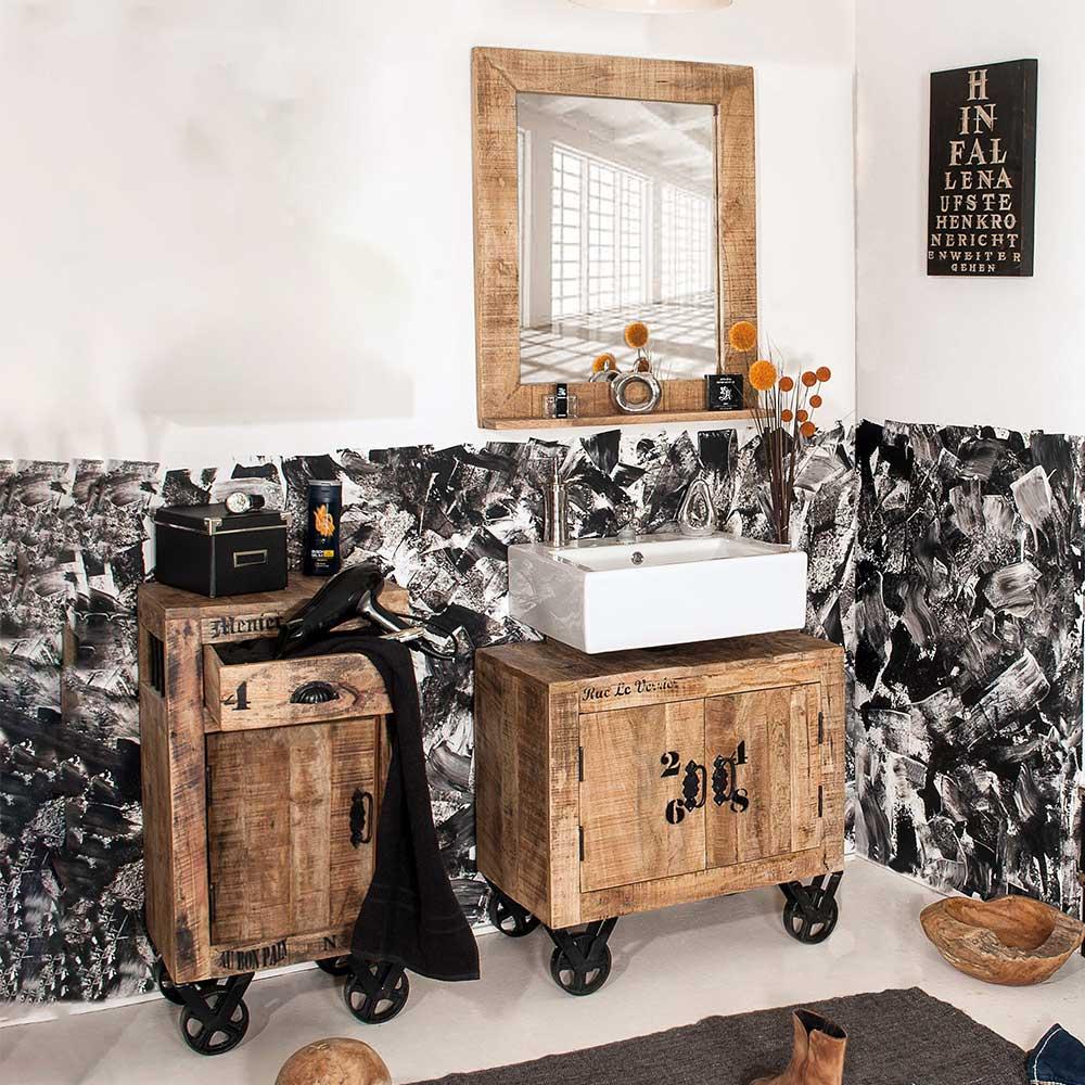 Außergewöhnliche Badmöbel im Factory Design Mangobaum Massivholz (dreiteilig)