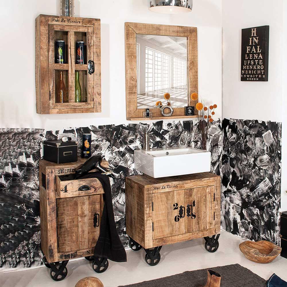 Ausgefallenes Badmöbel Set aus Mangobaum Massivholz Metallrollen (vierteilig)
