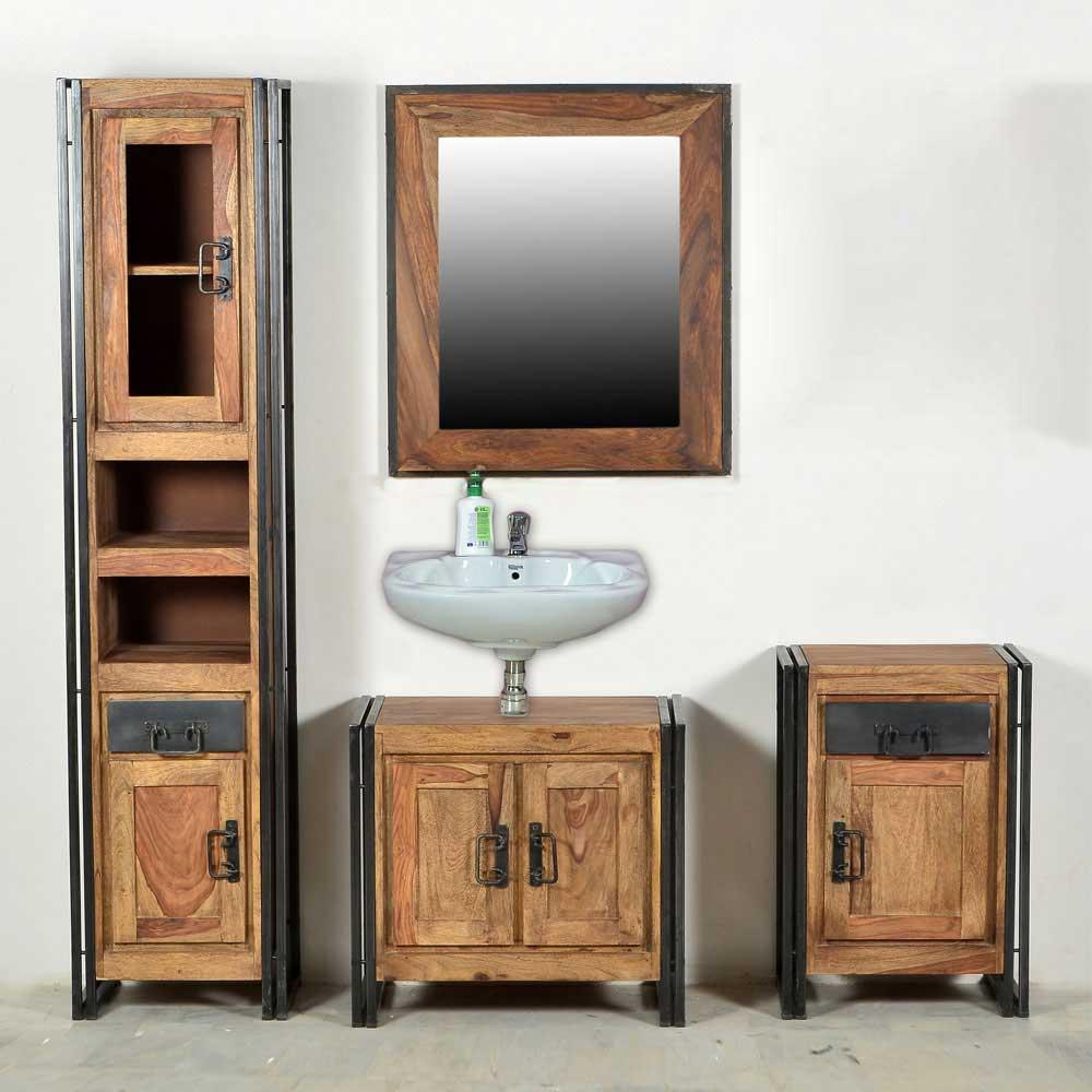 Loft Design Badmöbel Set aus Sheesham Massivholz Metall in Schwarz (vierteilig)