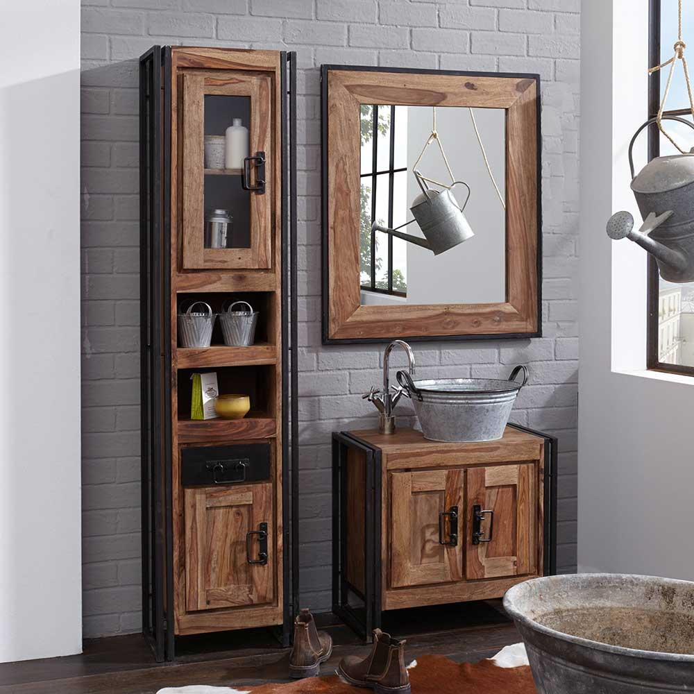 Badezimmer Kombination im Industry Style Sheesham Massivholz (3-teilig)