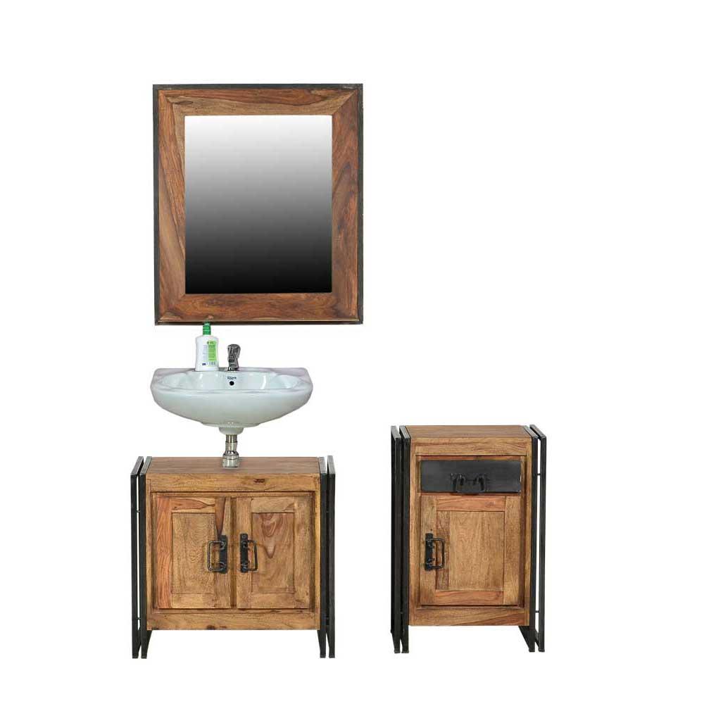 Industry Badmöbel Set aus Akazie Massivholz Metall in Schwarz (dreiteilig)
