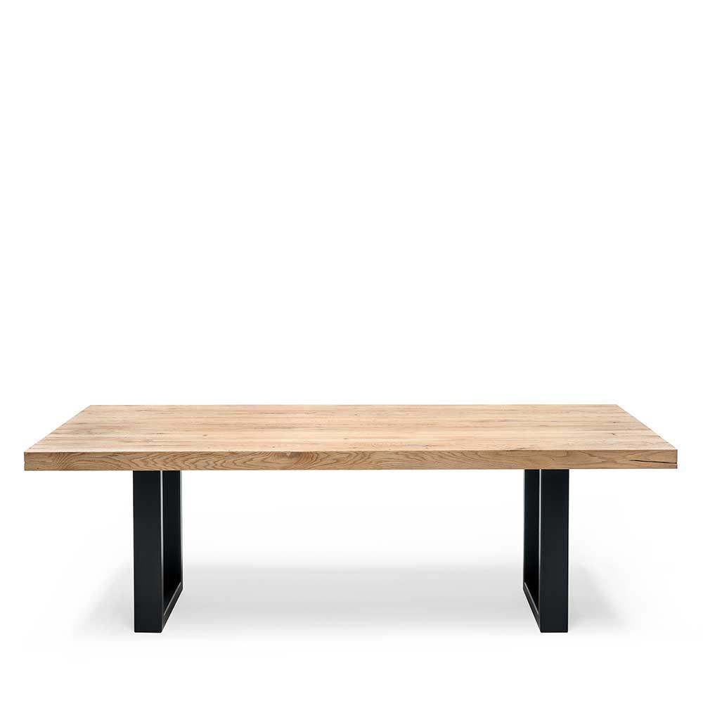 Holz Esstisch aus massiv Eiche weiß geölt Bügelgestell