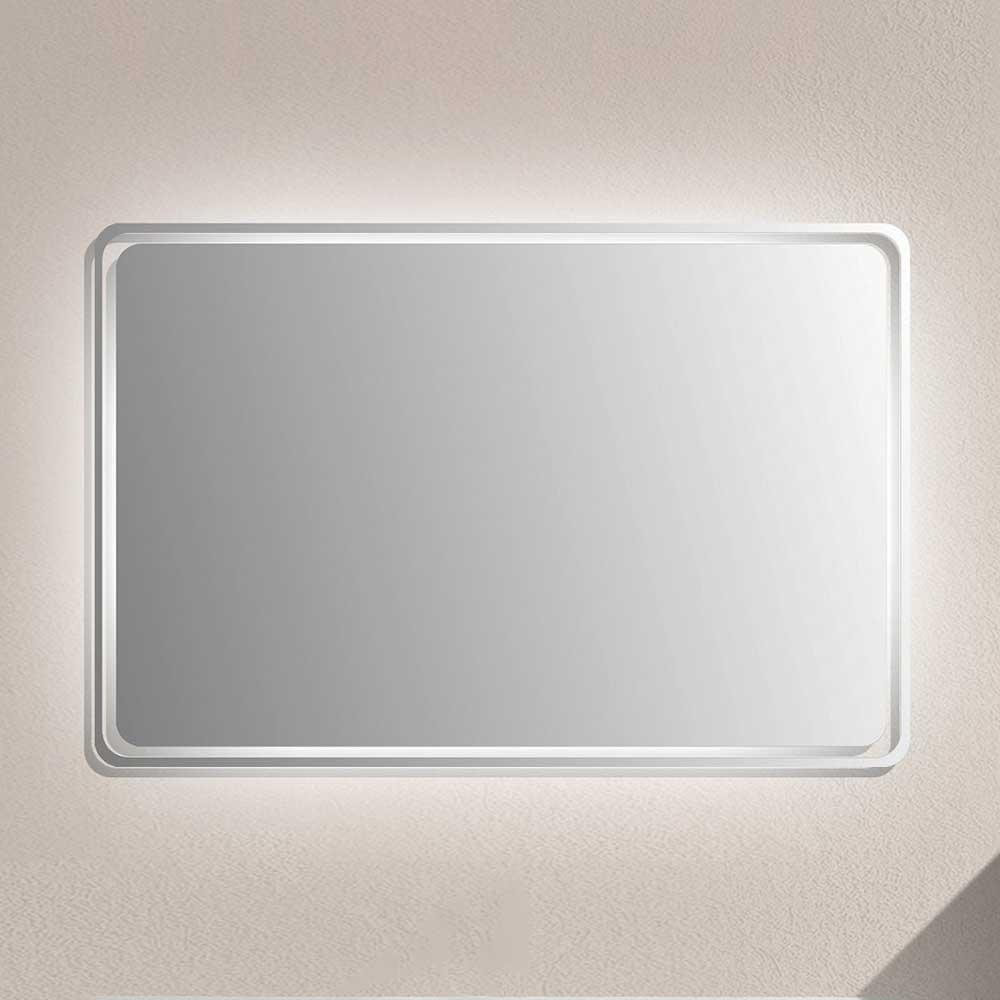 Badspiegel mit Glasrahmen LED Beleuchtung | Bad > Spiegel fürs Bad > Badspiegel | Weiß | Spiegelglas | Furnitara