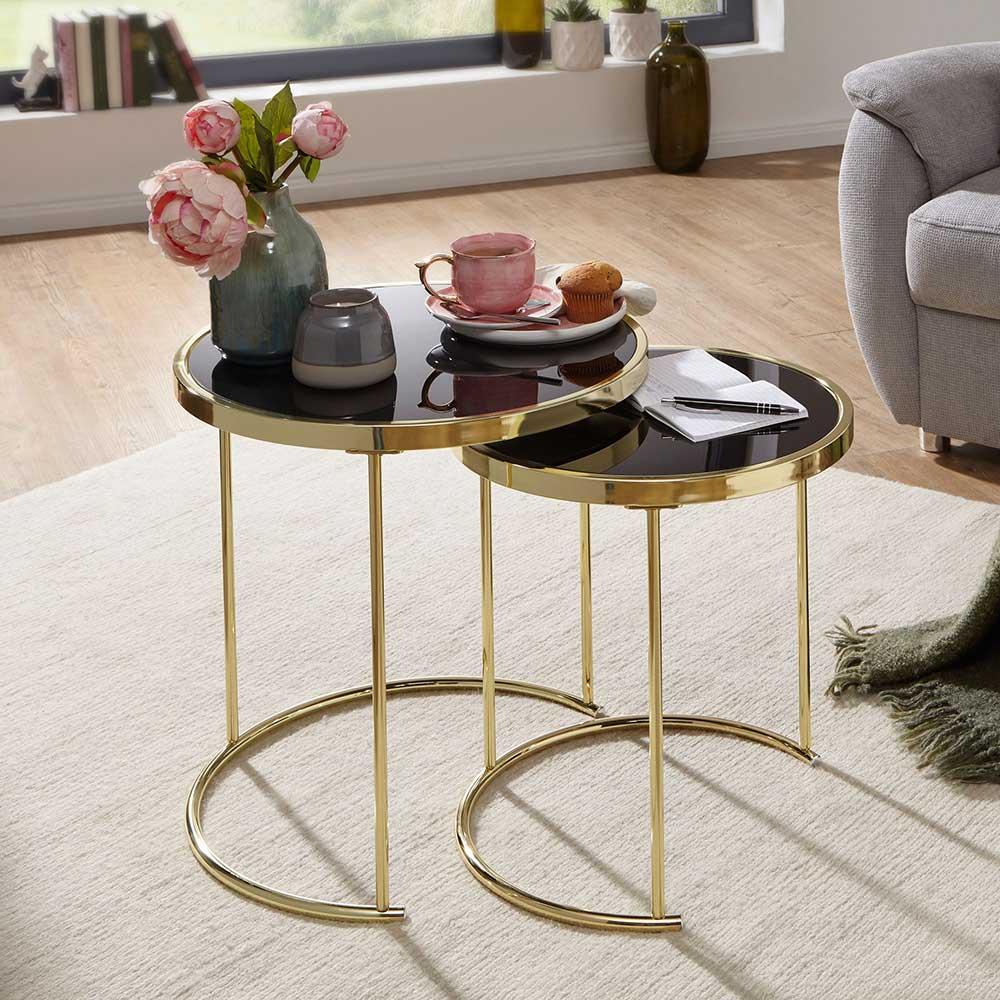 Glasstisch Set in Schwarz und Goldfarben rund (2-teilig) | Wohnzimmer > Tische > Glastische | Schwarz | Glas | Möbel4Life
