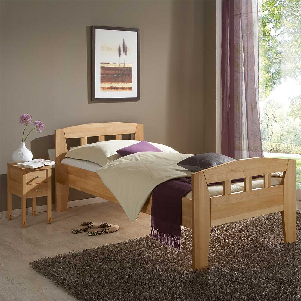 Massivholz Einzelbett mit Nachtkonsole Buche geölt (zweiteilig)
