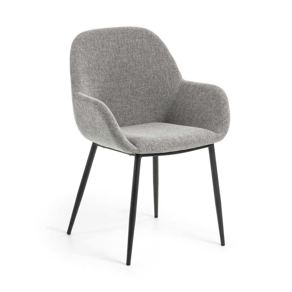 Esstisch Stühle in hell Grau Webstoff Metallgestell in Schwarz (2er Set)