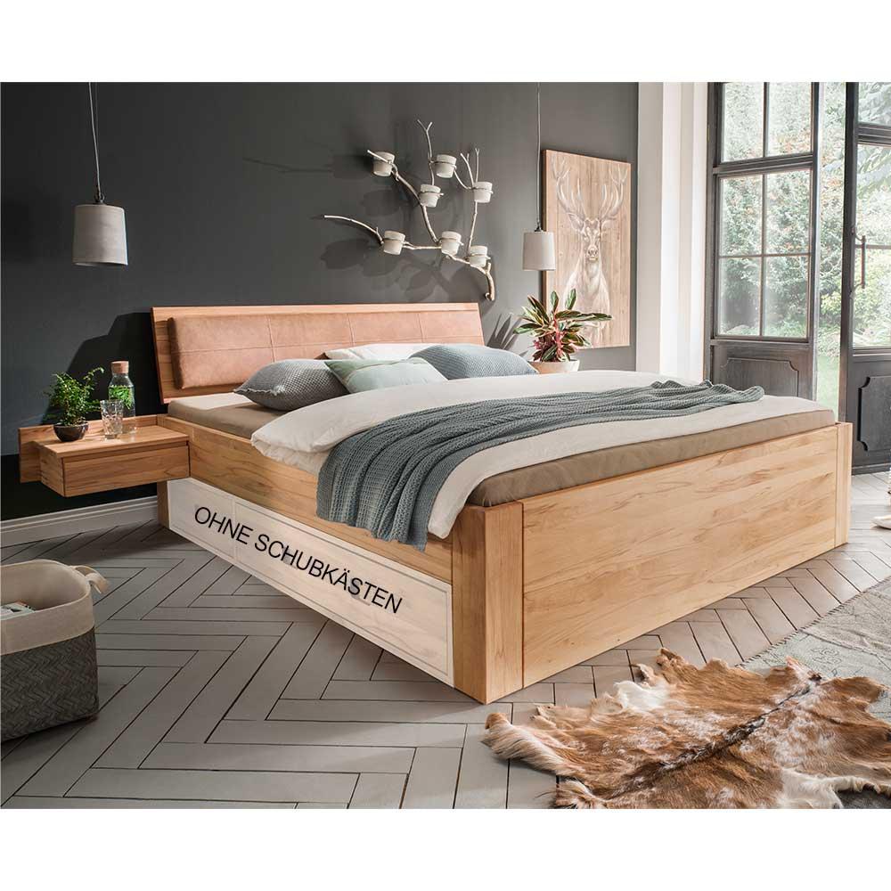 Doppelbett aus Kernbuche Massivholz gepolstertem Kopfteil (dreiteilig)