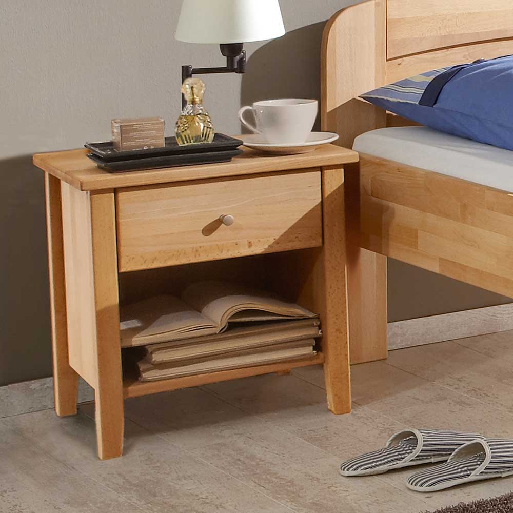 Nachttisch Set aus Buche Massivholz 50 cm hoch
