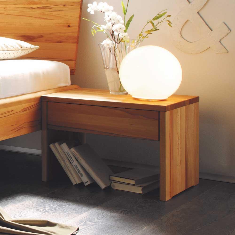 Nachttisch Set aus Kernbuche Massivholz einer Schublade