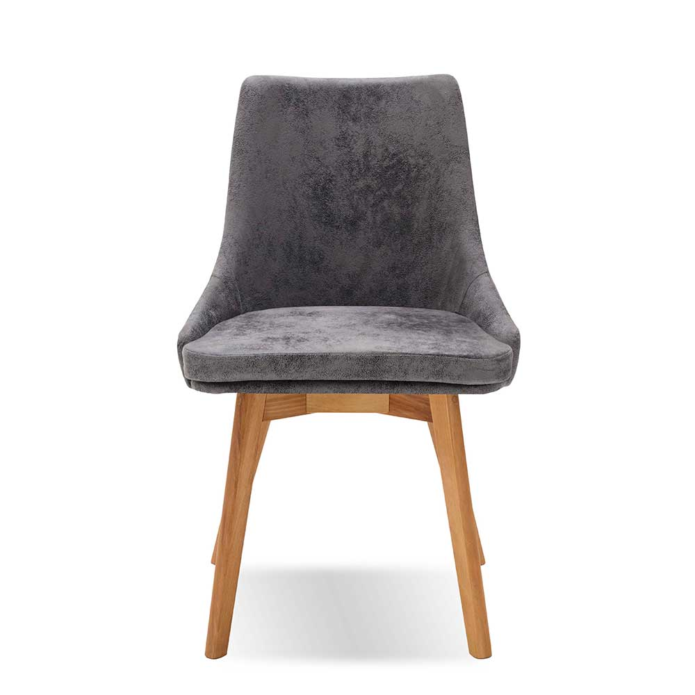 Microfaser Stuhl Set in Grau Massivholzgestell (2er Set) | Küche und Esszimmer > Stühle und Hocker > Holzstühle | Grau | Microfaser - Kernbuche - Massivholz | Dreaming Forest