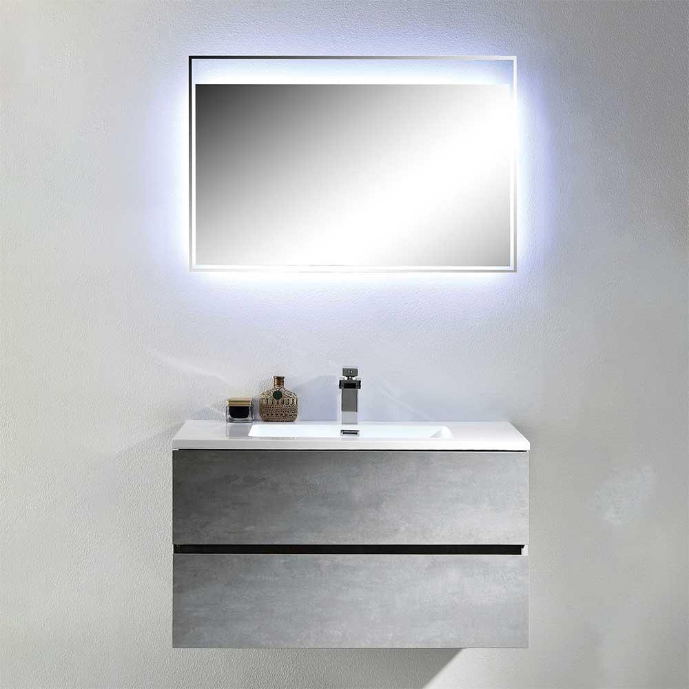 Design Badmöbel Kombination im Beton Grau Dekor LED Beleuchtung (zweiteilig)