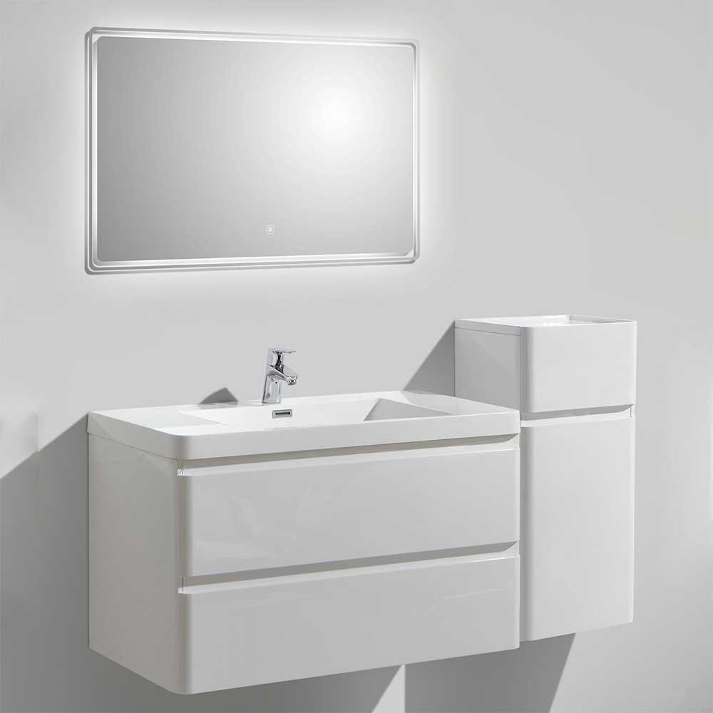 Hängende Badmöbel in Weiß Hochglanz LED Beleuchtung (dreiteilig)