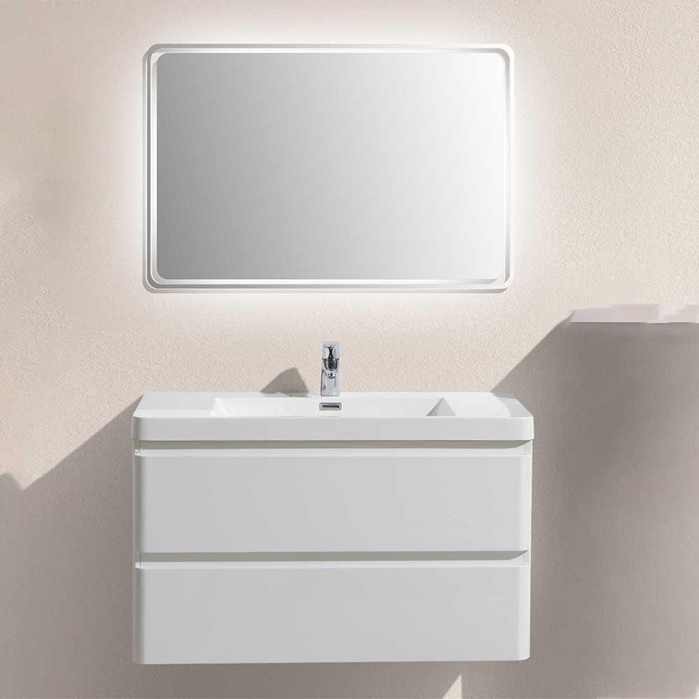 Badmöbel Kombination in Weiß LED Beleuchtung (zweiteilig)