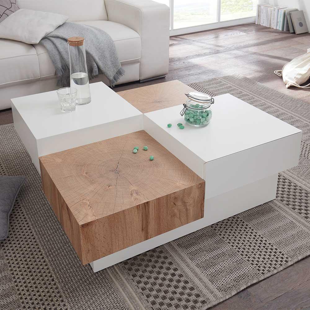 Design Couchtisch in Weiß und Eiche Dekor 90 cm breit
