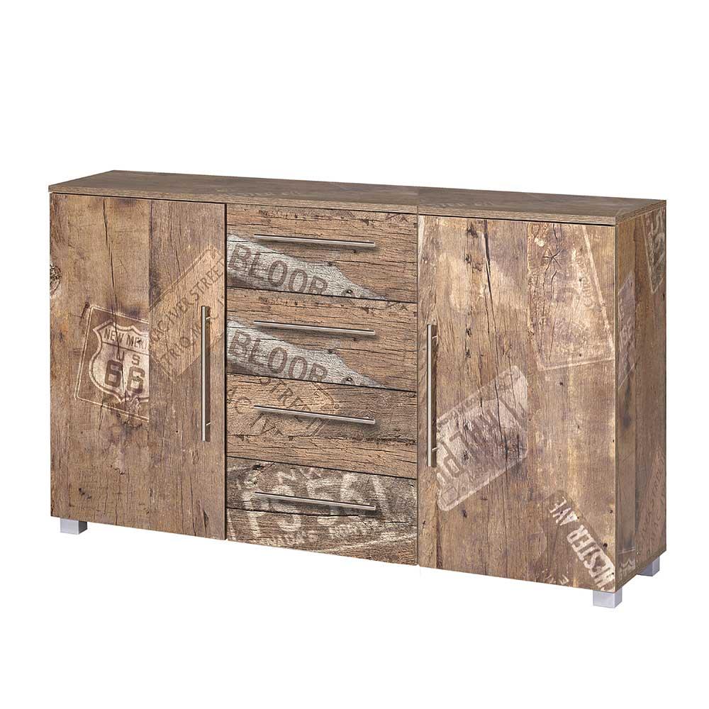 Cooles Sideboard in Braun Grau Loft Style