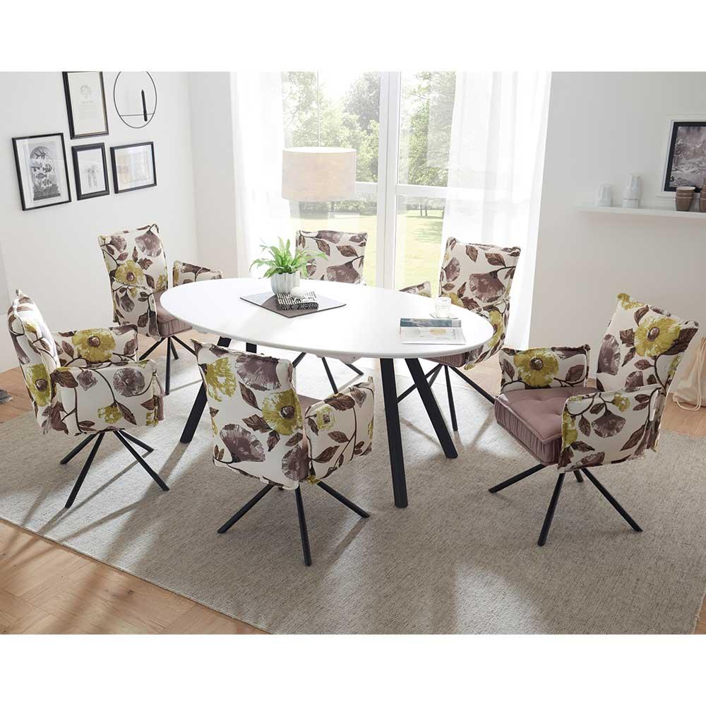 Essgruppe mit ovalem Ausziehtisch Armlehnenstühlen mit Blumenmuster (siebenteilig)