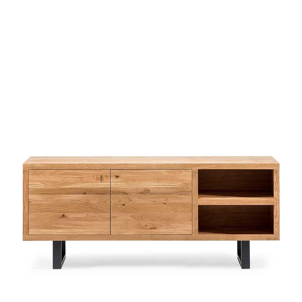 Loft Sideboard aus Asteiche Massivholz Bügelgestell aus Metall
