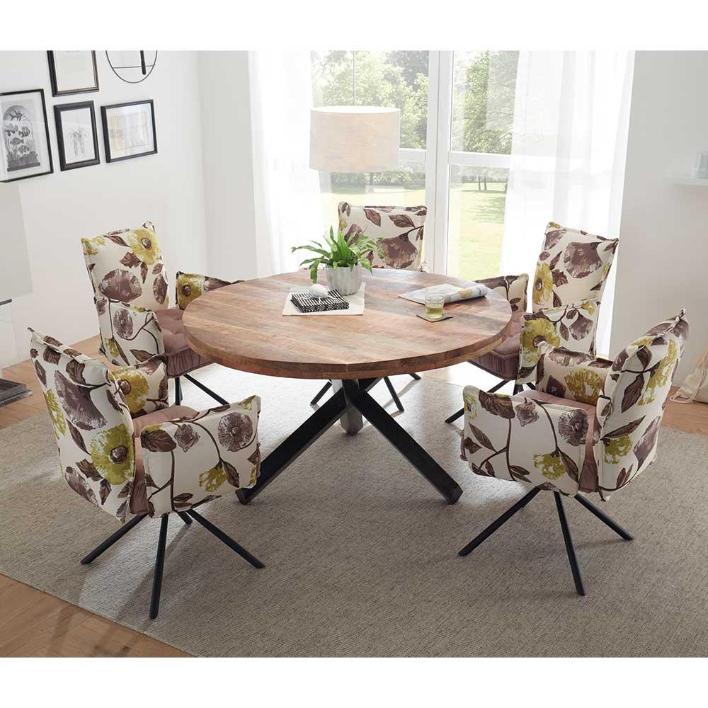 Design Esstischgruppe mit rundem Esstisch Samtstühlen mit Blumenmuster (sechsteilig)