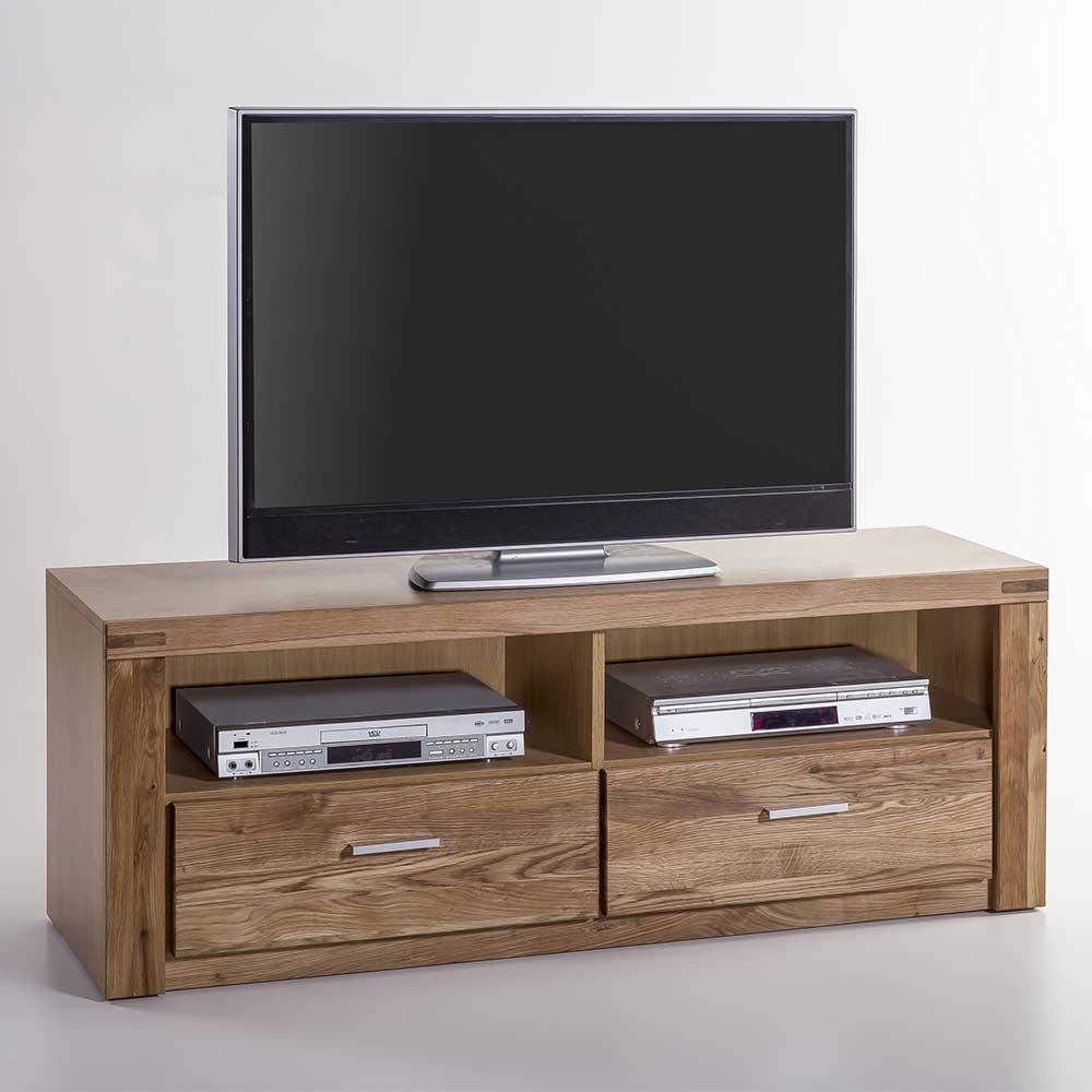TV Lowboard aus Wildeiche teilmassiv zwei Schubladen
