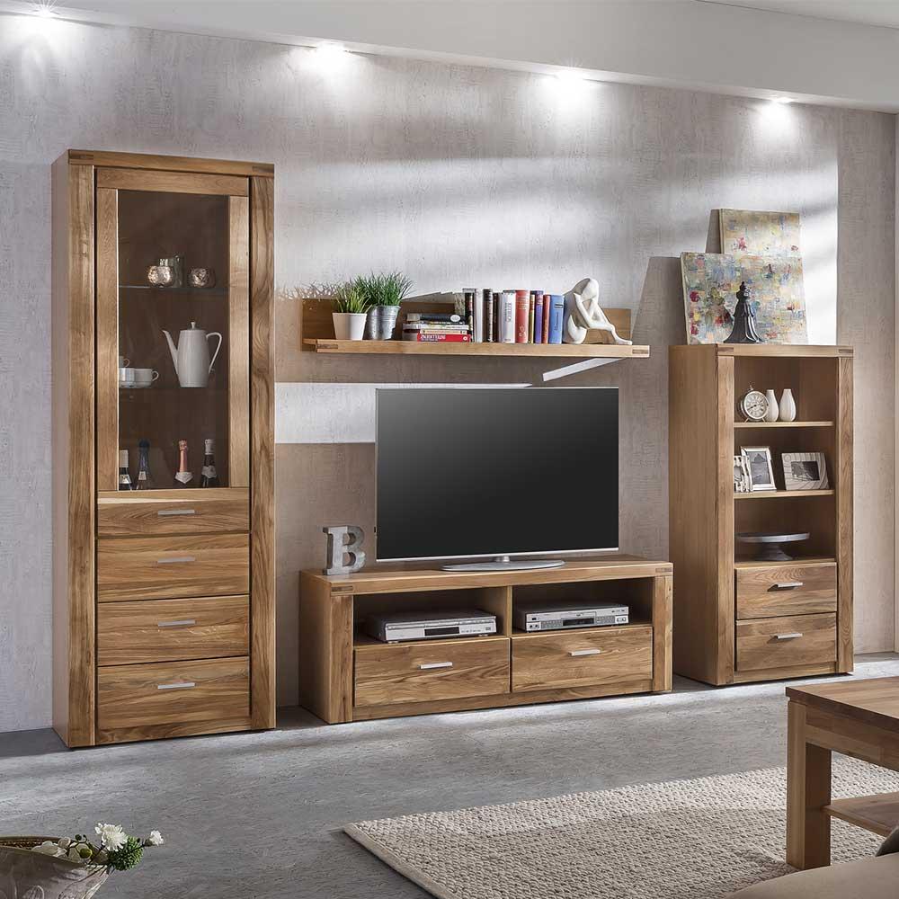 Holz Wohnwand aus Wildeiche geölt 200 cm hoch (4-teilig) | Wohnzimmer > Schränke > Wohnwände | Wildeiche - Massivholz - Spanplatte - Massiv - Holz - Geölt | Homedreams