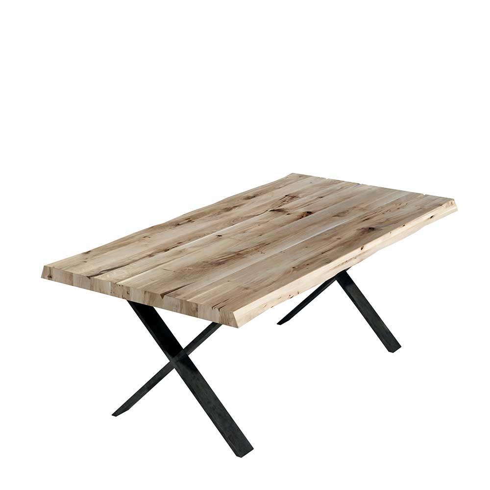 Loft Design Esstisch aus Eiche Massivholz und Metall 200 cm breit