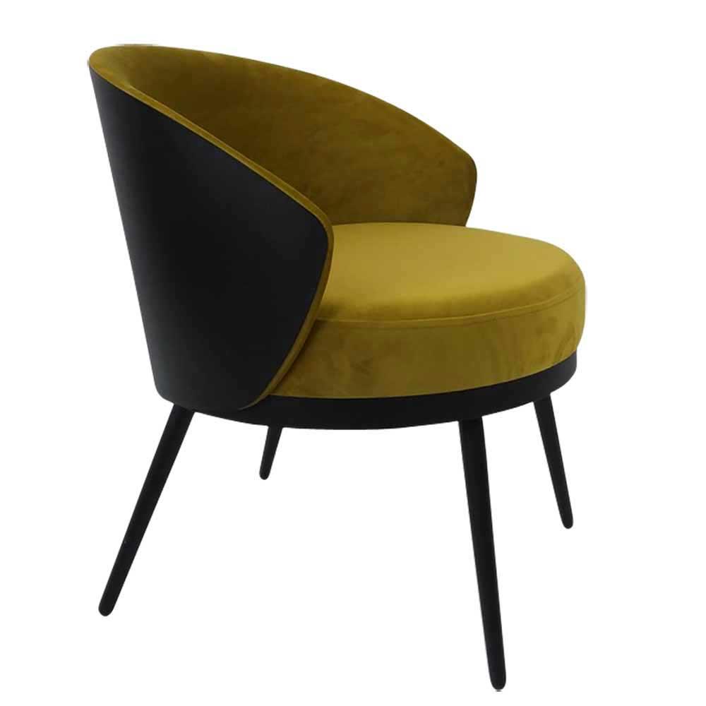 Design Polstersessel in Goldfarben und Schwarz Untergestell aus Metall