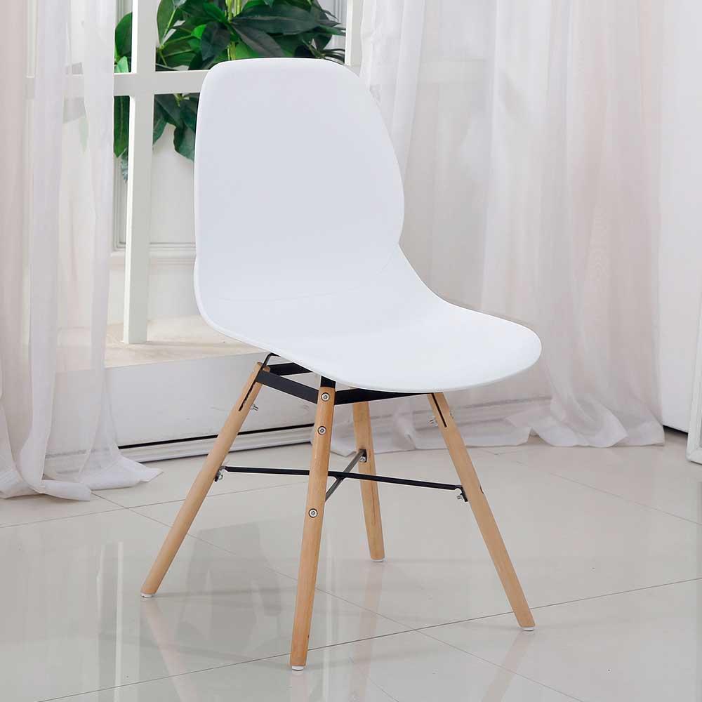Esstisch Stühle in Weiß Kunststoff Retro Style (Set)