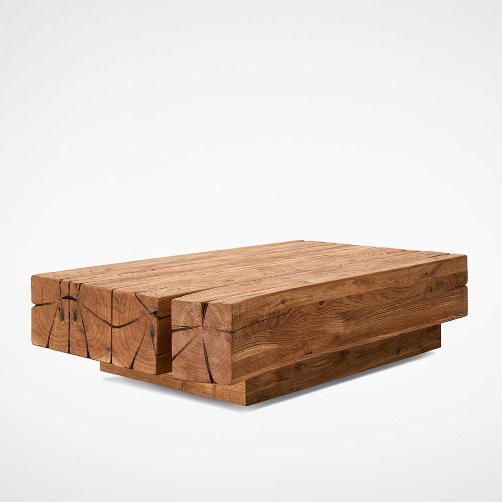 Echtholz Couchtisch aus Eiche Massivholz rustikalen Landhausstil