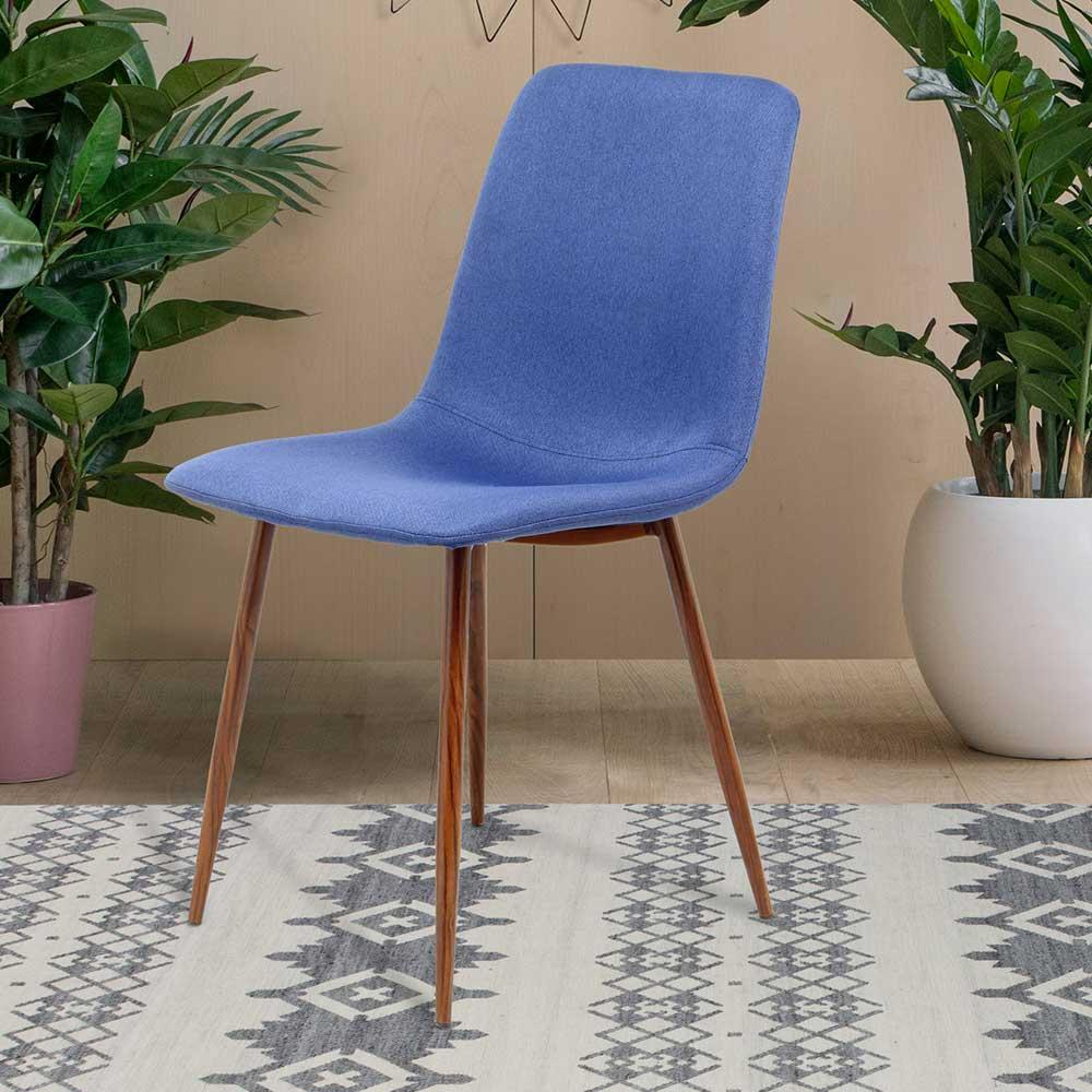 Esstisch Stühle in Blau Webstoff Massivholzgestell (2er Set)