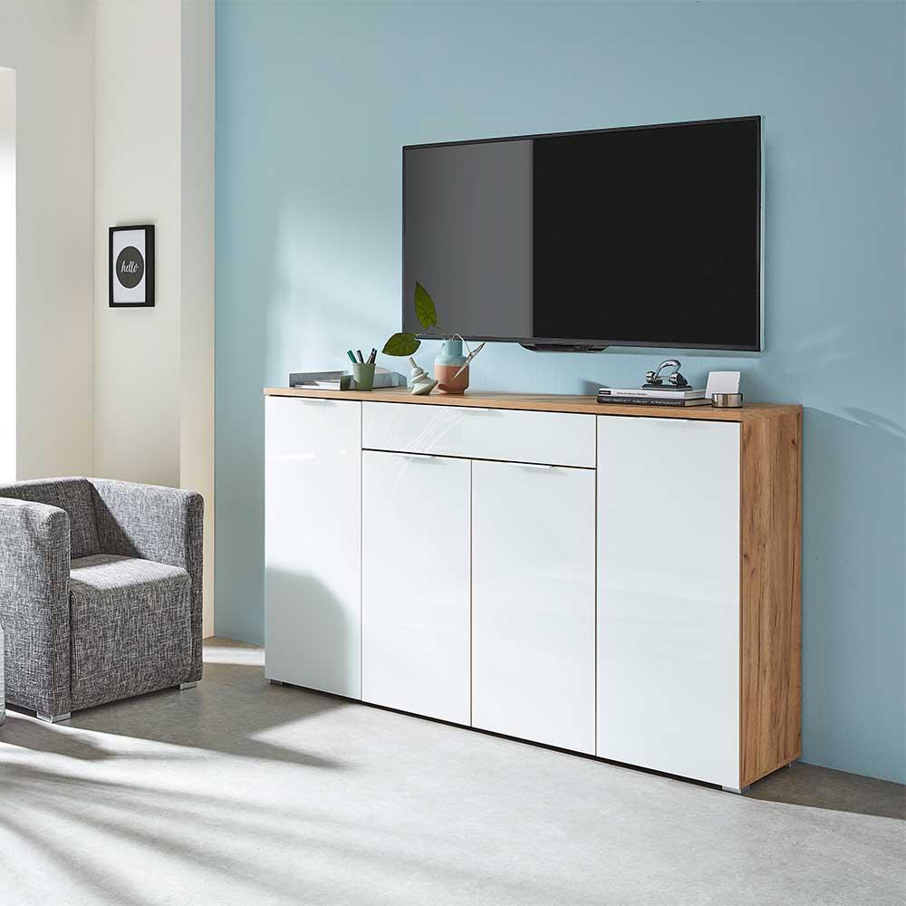Design Sideboard in Weiß Glas beschichtet Eiche Dekor