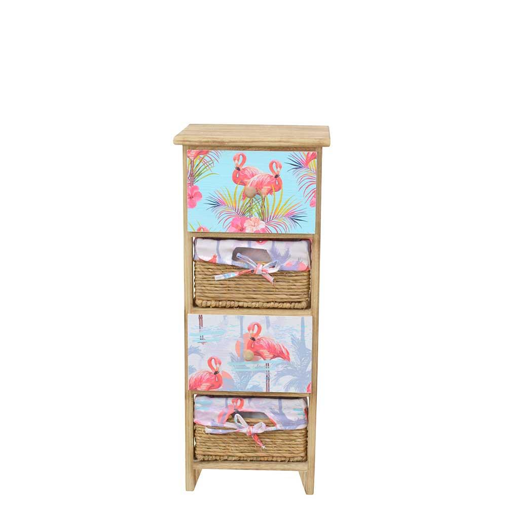 Schubkastenkommode aus Paulownia Massivholz Flamingo Motiven