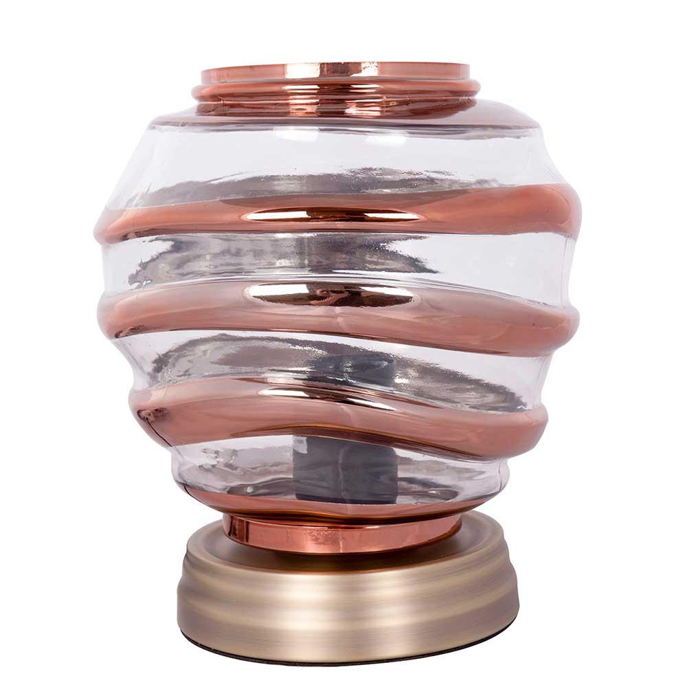 Design Tischleuchte in Kupferfarben Glas