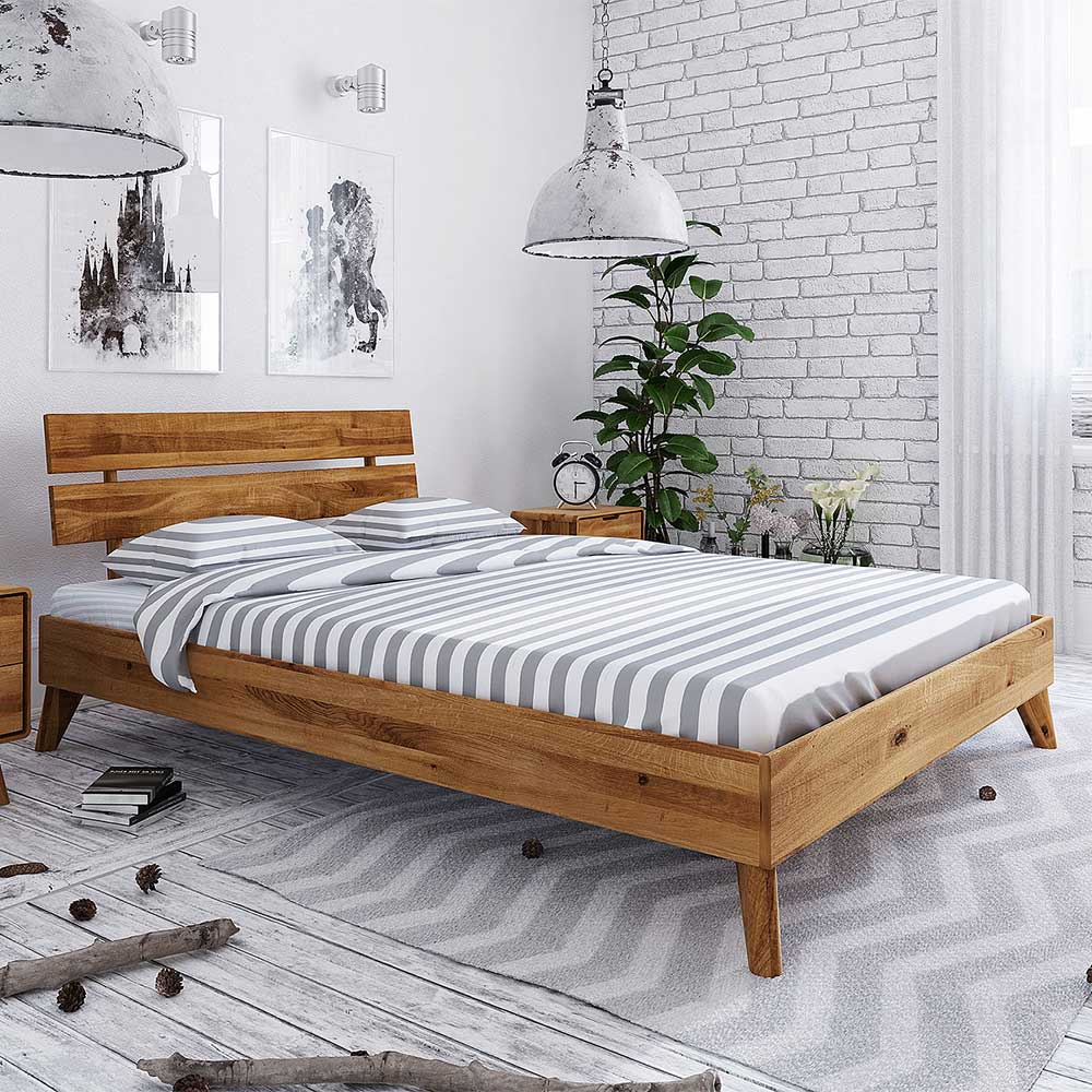 Massivholzbett aus Wildeiche geölt 35 cm Fußteil