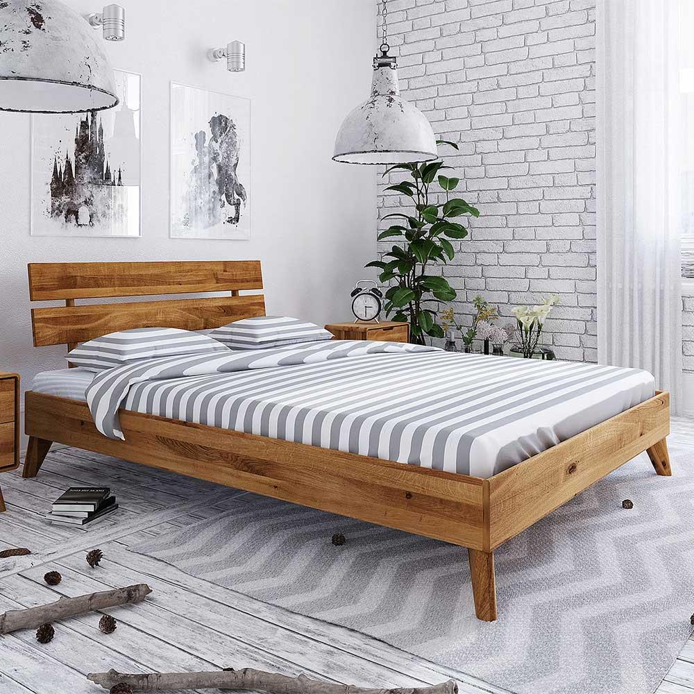 Echtholzbett aus Wildeiche Massivholz 35 cm Einstiegshöhe
