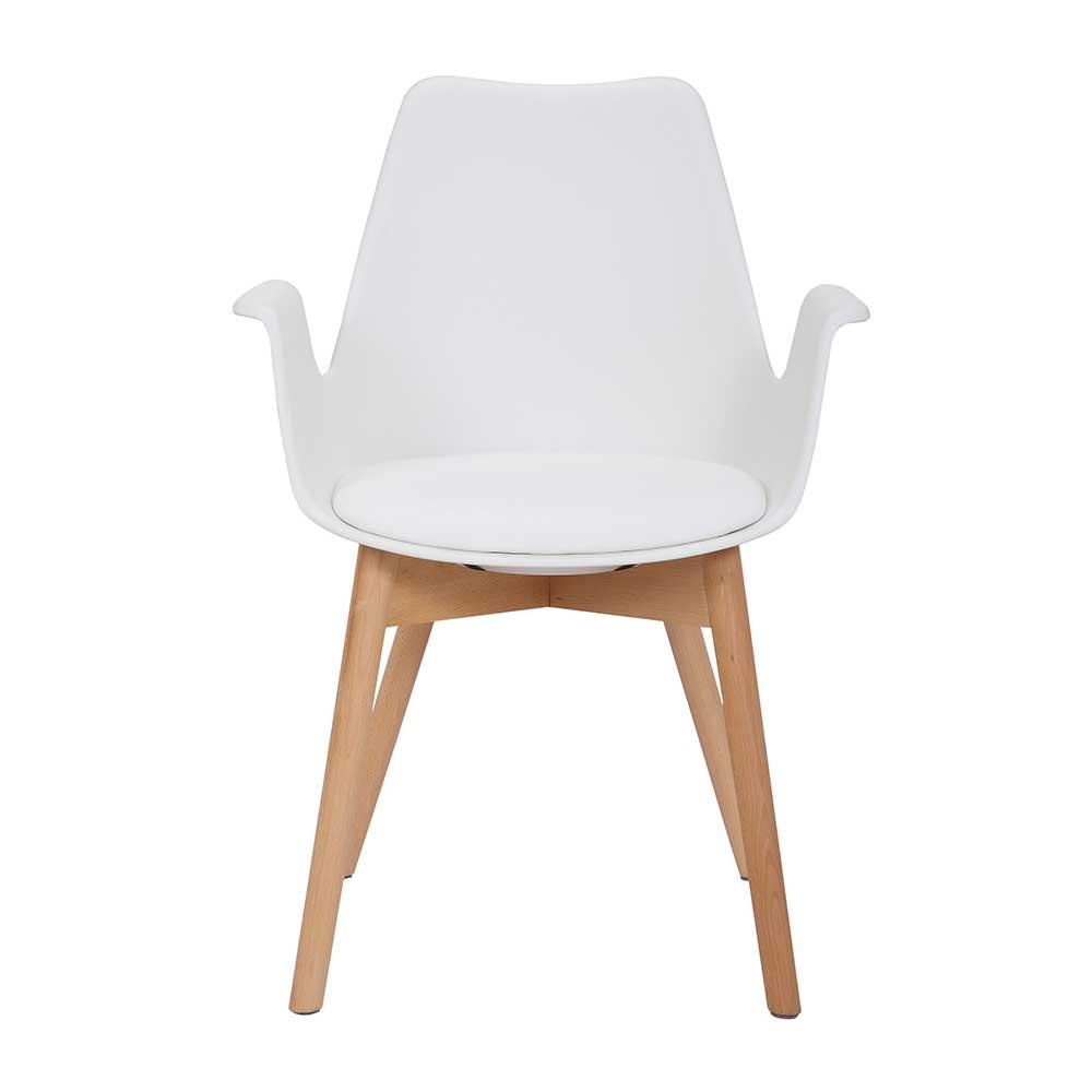 Armlehnenstuhl in Weiß Kunststoff Massivholzgestell (2er Set) | Küche und Esszimmer > Stühle und Hocker > Holzstühle | Weiß | Kunststoff | Doncosmo