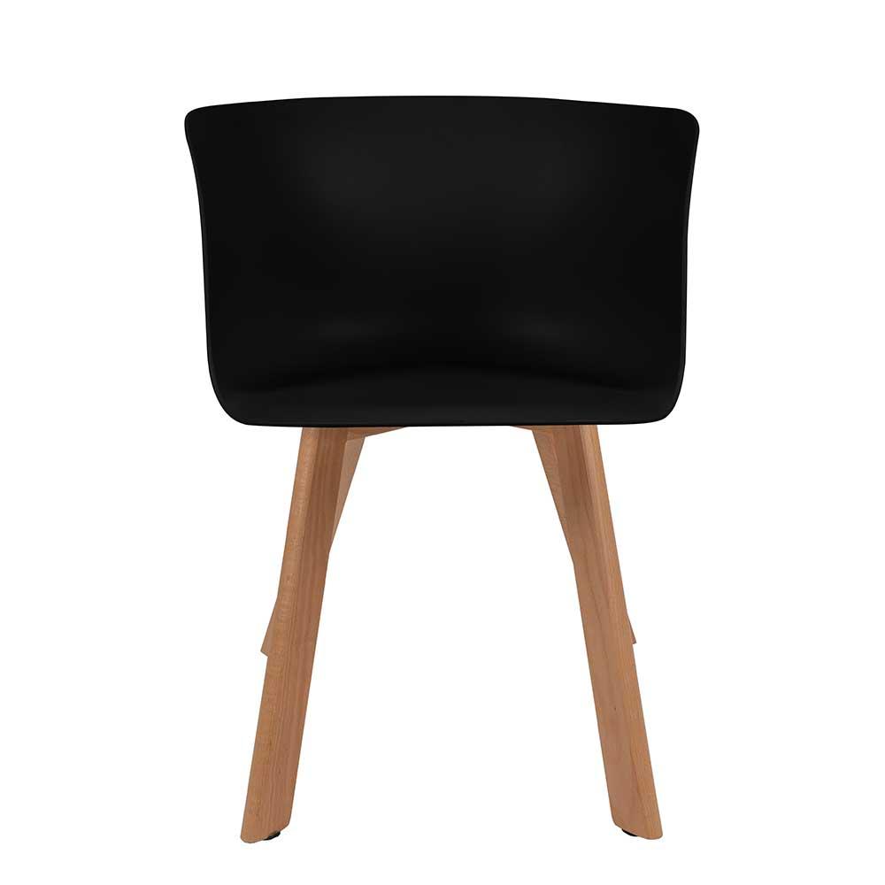 Esstisch Stühle in Schwarz Kunststoff Massivholzgestell (4er Set)