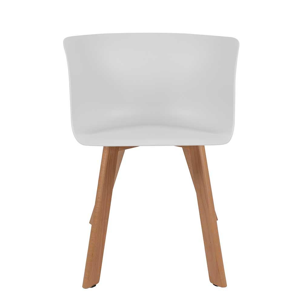 Esstisch Stühle aus Kunststoff und Massivholz Weiß (4er Set)